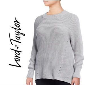 Lord & Taylor High Low Long Sleeve Grey Sweater